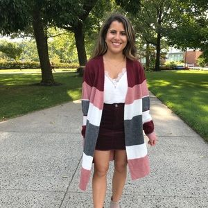 Pink Lily Striped Cardigan